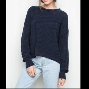 Brandy Melville Navy Blue Boxy Pullover Sweater OS